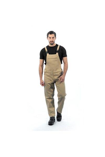 Endüstri Giyim Erkek Bej Askılı Bahçıvan Tulum Kanguru Cepli İş Elbisesi