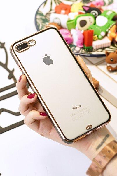 Spoyi Iphone 7 Plus / 8 Plus Baskısız Siyah Kenar Gold Detaylı Premium Telefon Kılıfı