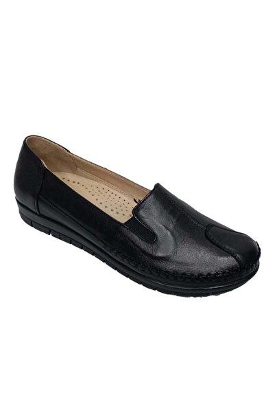 Nehir 134 Hakiki Deri Büyük Numara Kadın Ayakkabı - Siyah - 42