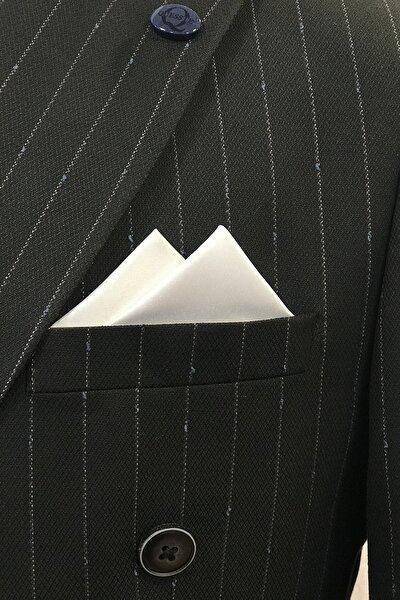 Quesste Accessory Erkek Beyaz Hazır Katlanmış Üçgen Model Cep Yaka Mendili