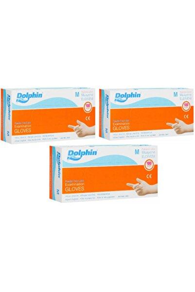 Dolphin Latex Muayene Eldiveni Pudrasız Medium 100'lü Paket 3 Adet