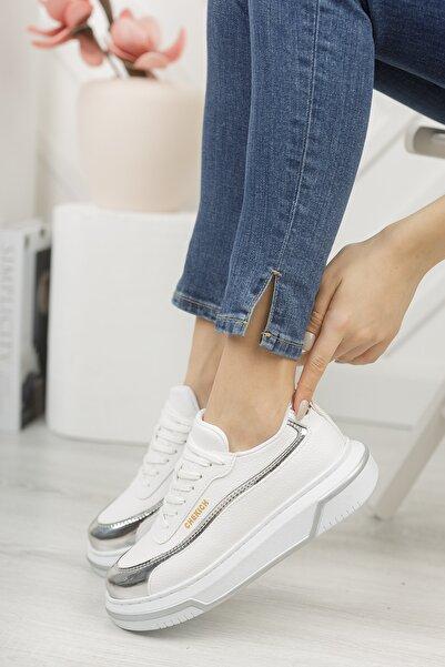 Chekich Ch041 Kadın Ayakkabı Beyaz Gümüş