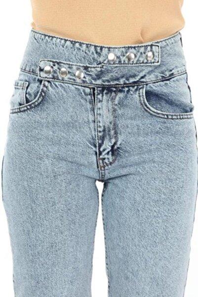 MISSDORE Asimetrik Kapama Mavi Yıkama Yüksek Bel Mom Jeans