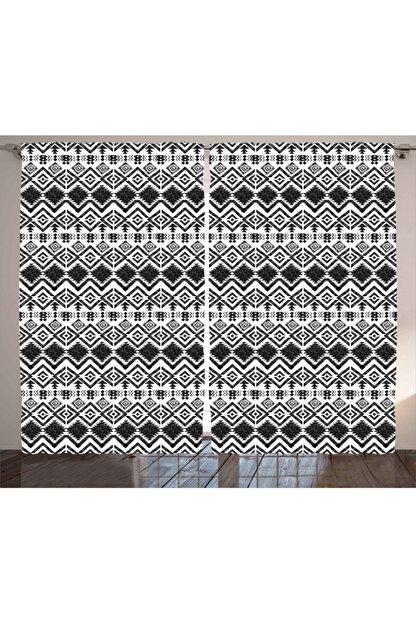 Orange Venue Geometrik Perde Şık Etnik Desenli