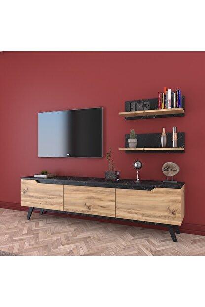 Rani Mobilya Rani D1 Duvar Raflı Kitaplıklı Tv Ünitesi Ahşap Ayaklı Tv Sehpası Mermer Desenli M48