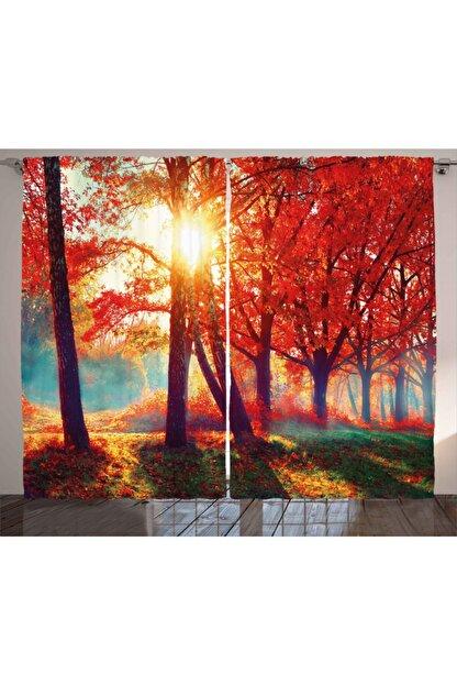 Orange Venue Doğa Perde Kırmızı Ağaç Ve Güneş