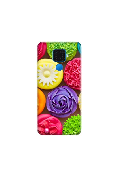 cupcase Huawei Mate 30 Lite Kılıf Desenli Esnek Silikon Telefon Kabı Kapak - Renkli Kekler
