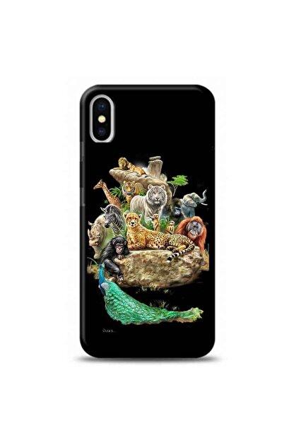 Kılıf Madeni Iphone Xs Max Hayvanlar Siyah Koleksiyon Telefon Kılıfı Y-syhklf149
