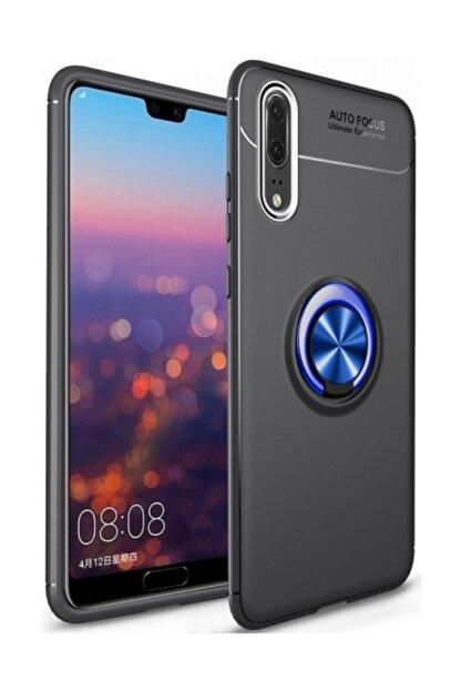 Kilifplus Huawei P20 Pro Kılıf Auto Focus Serisi Standlı Yüzüklü Kapak - Mavi - Siyah