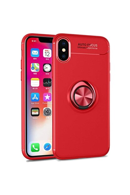 Fibaks Apple Iphone X Kılıf Ravel Metal Yüzüklü Standlı Shockproof Silikon + Nano Cam