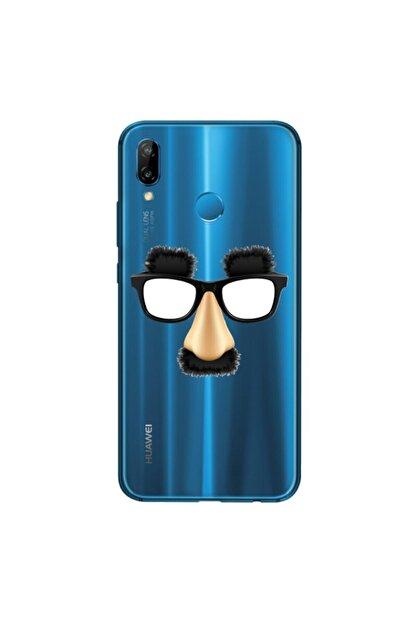cupcase Huawei P Smart 2019 Kılıf Esnek Silikon Kapak Funny Mask/gözlük Desenli + Nano Cam