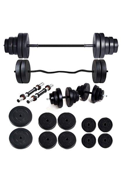 ECG Spor 58 kg Z Bar Halter Seti ve Dambıl Ağırlık Fitness Seti