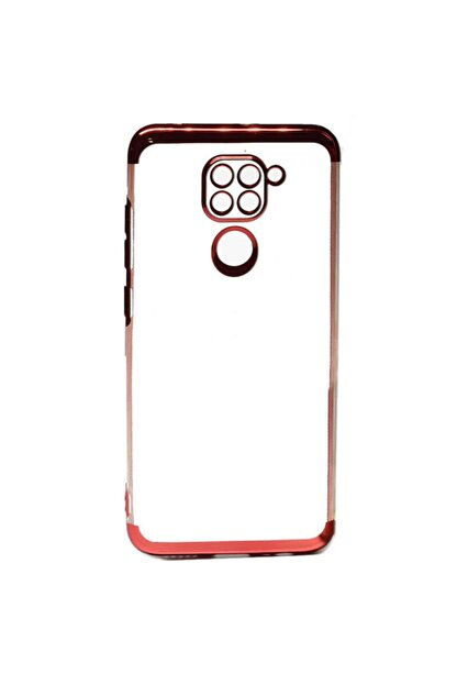 Coverzone Xiaomi Redmi Note 9 Kılıf Dört Köşeli Lazer Şeffaf Thunder Kırmızı