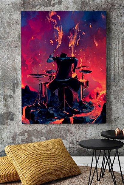 KanvasSepeti Yanardağ Lavları Arasında Müzik Soyut Kanvas Canvas Tablo Dekoratif Tablolar