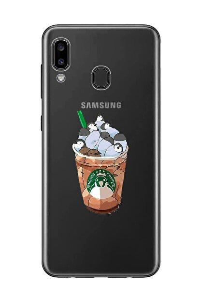 Mupity Penguen Kahve Tasarımlı Samsung A20-a30 Şeffaf Telefon Kılıfı