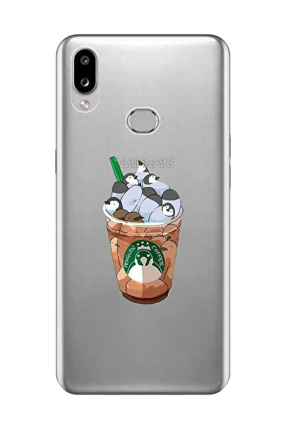 Mupity Samsung A10s Penguen Kahve Tasarımlı  Şeffaf Telefon Kılıfı