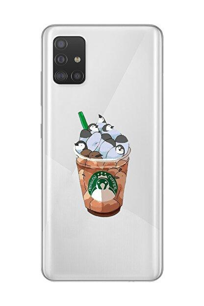 Mupity Penguen Kahve Tasarımlı Samsung A71 Şeffaf Telefon Kılıfı