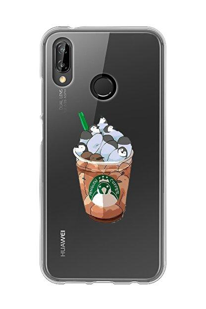 Mupity Penguen Kahvetasarımlı Huawei P20 Lite Şeffaf Telefon Kılıfı