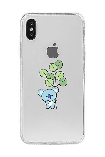Mupity Yapraklı Koala Tasarımlı Iphone X Şeffaf Telefon Kılıfı