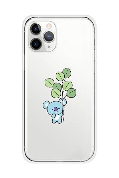 Mupity Yapraklı Koala Tasarımlı Iphone 11 Pro Şeffaf Telefon Kılıfı
