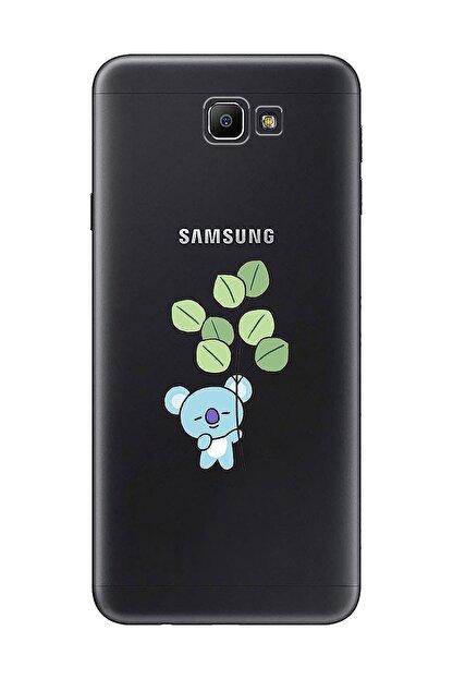 Mupity Yapraklı Koala Tasarımlı Samsung J7 Prime Şeffaf Telefon Kılıfı