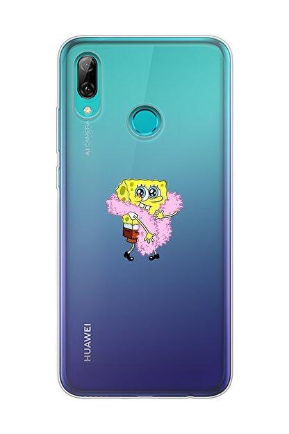 Mupity Pofuduk Sünger Bob Tasarımlı Huawei P Smart 2019 Şeffaf Telefon Kılıfı