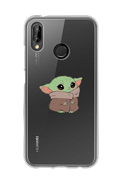 Mupity Bebek Yoda Tasarımlı Huawei P20 Lite Şeffaf Telefon Kılıfı