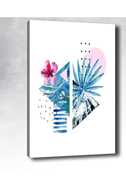 Shop365 Palmiye Yaprak Ve Çiçek Kanvas Tablo 75 X 50 Cm Sb-20206