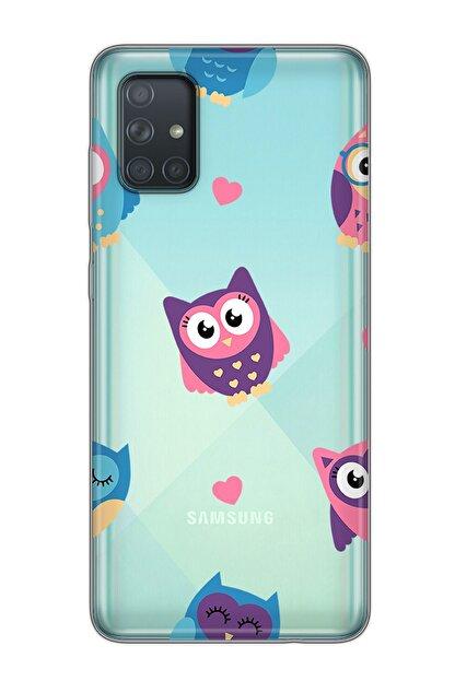 Mobilteam Samsung Galaxy A71 Mavi Baskılı Silikon Telefon Kılıfı