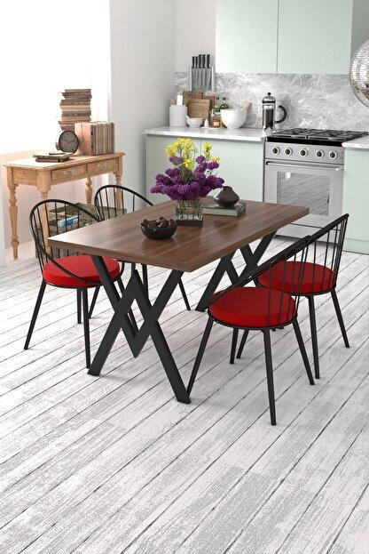 Evdemo Eylül 4 Kişilik Mutfak Masası Takımı Ceviz Kırmızı