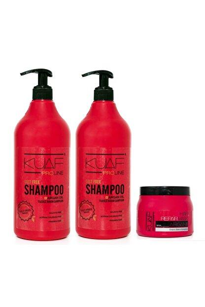 Kuaf Tuzsuz Argan Yağlı Bakım Şampuanı 2x1000ml Saç Bakım Maskesi Argan 500ml