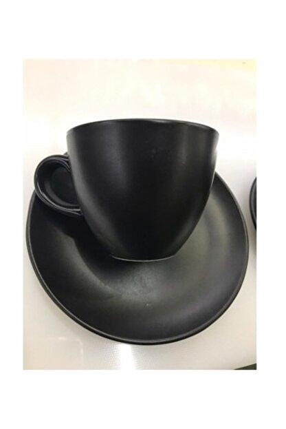 Güral Porselen Bistro Mat Siyah Çay Nescafe Fincanı 230 Cc 6 Lı