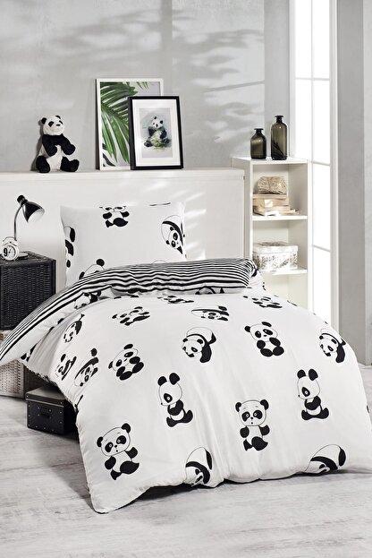 Ev & Ev Home Tek Kişilik Junior Nevresim Seti  Panda Siyah
