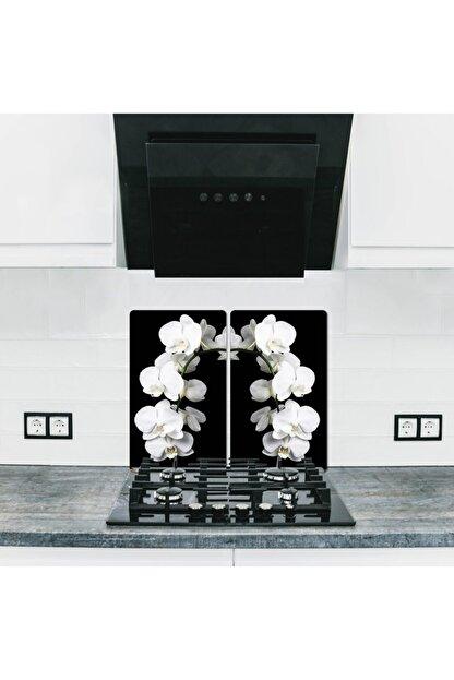 Kleid 2 Parça,yağ Sıçratmaz Ocak Arkası Koruyucu, Beyaz Orkide (60CM X 52CM) 4'lü Ocaklar