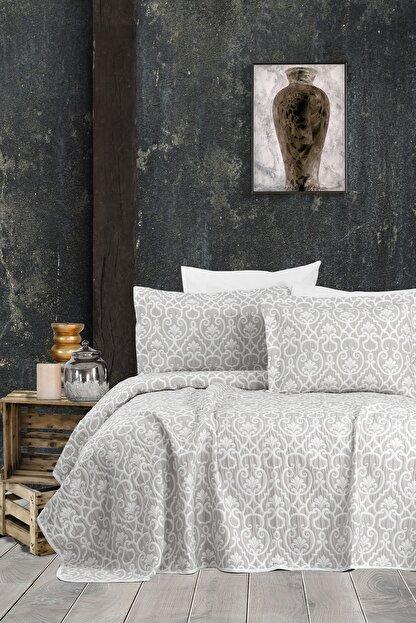 Hayal Evi Gümüş Çift Kişilik Jakar Şönil Kumaş Yatak Örtüsü Takımı