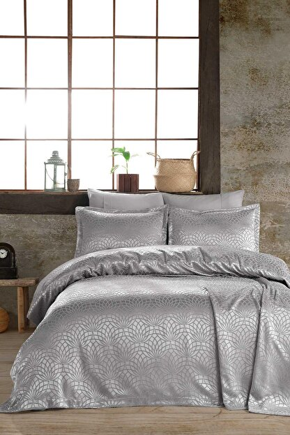 Hayal Evi Gümüş Premium Çift Kişilik Jakar Şönil Kumaş Yatak Örtüsü Takımı