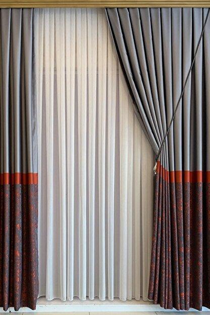 perfect curtain Pilesiz Çizgili Tül Düz Dikiş