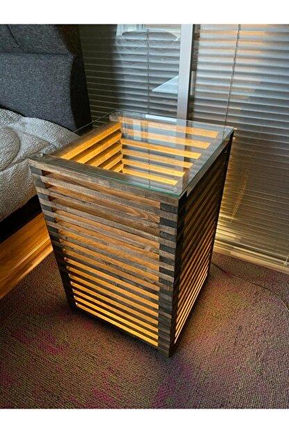 Pronto Reklam Pronto Dizayn Masif Ahşap Led Işıklı Komodin 30x30x60 cm Ceviz Renk