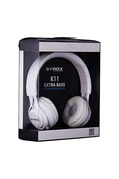 Syrox Kulak Üstü Mikrofonlu Aux Kablolu Kulaklık K11-beyaz Renk