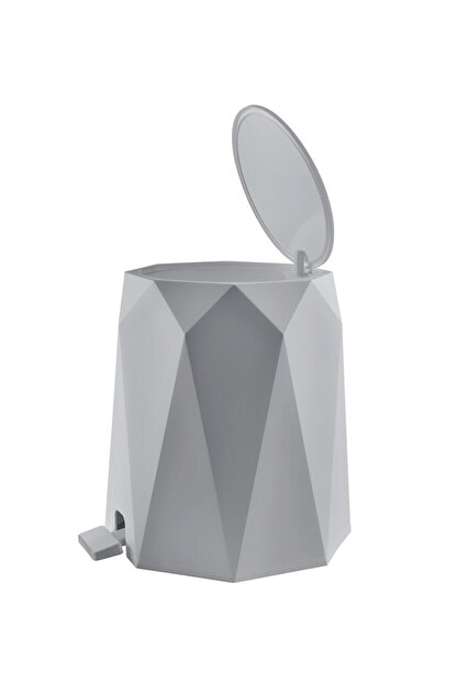 Elif Geo 2'li Banyo Seti (Plastik 5 lt Çöp Kovası Ve Tuvalet Fırçası Taş Rengi)