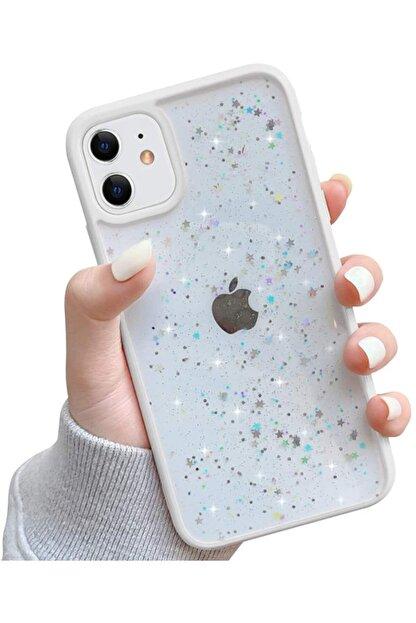 """Teknoçeri Iphone 11 6.1"""" Kenarı Renkli Simli Darbe Önleyici Silikon Kılıf Beyaz"""