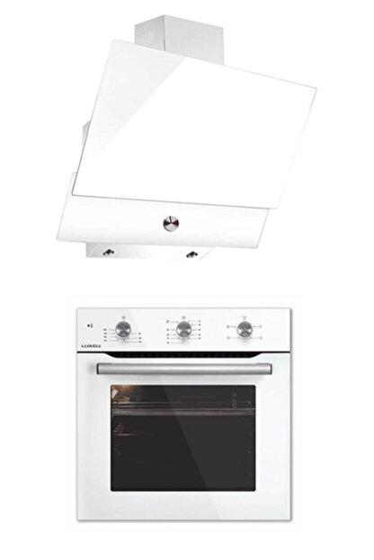 Luxell Yeni Seri Kristal Plus Beyaz Ankastre Fırın Davlumbaz 2'li Set