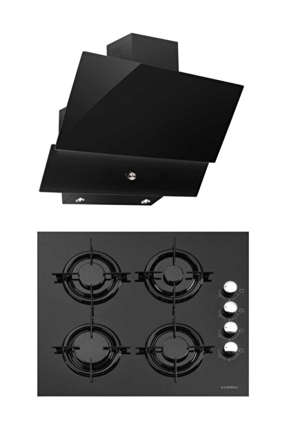 Luxell Kristal İkili Siyah Cam Ankastre Set(Ocak+Davlumbaz)