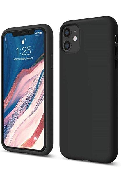 """Teknoçeri Siyah Iphone 11 6.1"""" Uyumlu İçi Kadife Lansman Silikon Kılıf"""