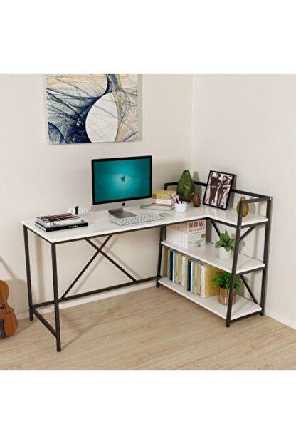 MORDEKA Kitaplıklı Çalışma Masası Bilgisayar Masası Beyaz