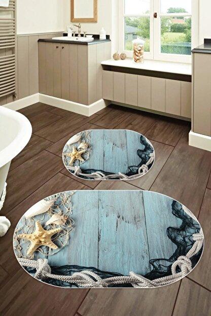 elleser 60x90 - 50x60 Dijital Baskılı Oval Banyo Paspası 2'li Set
