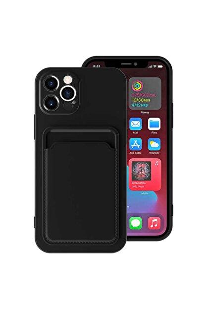 Fibaks Apple Iphone 12 Pro Max Kılıf Lansman Dokulu Kamera Korumalı Kartlıklı Kart Bölmeli Yumuşak Silikon