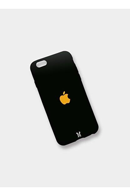 Mess Negozıo Apple Iphone 8 Plus Uyumlu Premium Siyah Silikon Dokulu Baskı Logolu Model Kılıf