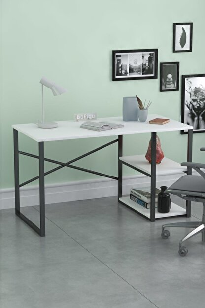 Noowa 60x120 Cm 2 Raflı Çalışma Masası Beyaz