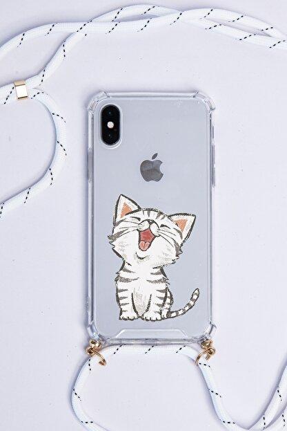 POFHİ Huawei P30 Lite Sevimli Kedi Beyaz Askılı Telefon Kılıfı